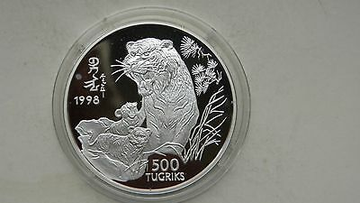 1998 Mongolia 500 Tugriks Tigers Silver Proof coin