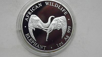 2002 Zambia 5000 Kwacha Elephants Silver PROOF coin