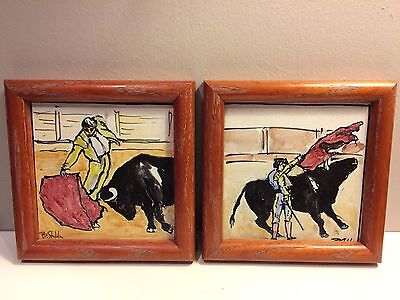 "Two 7 1/2"" Custom Framed  Hand-Painted Art Tiles-Bull Fighter & Bull, Signed"
