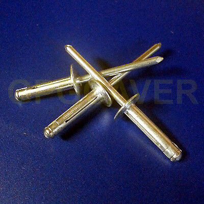 "Exploding Tri-Fold Large Head Racing Pop Rivet Fastener 50pc 3/16"" Mill Finish"