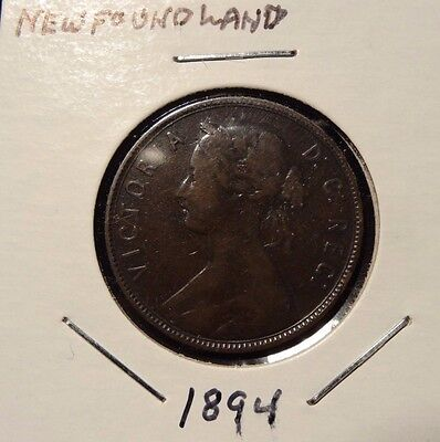 1894 Newfoundland Canada One Large Cent Copper Penny Coin A145