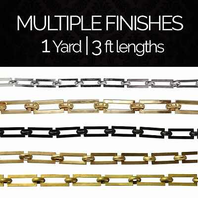 Solid Brass Rectangular Link Chandelier Lighting Chain #1 | (1 yard or 3 ft)