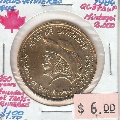 Trois-Rivieres Quebec Canada - Trade Dollar - 1984 Gold Plated