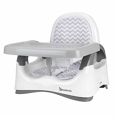 Badabulle Comfort Booster Seat - White/Grey - From 6 Months Baby to 15kg