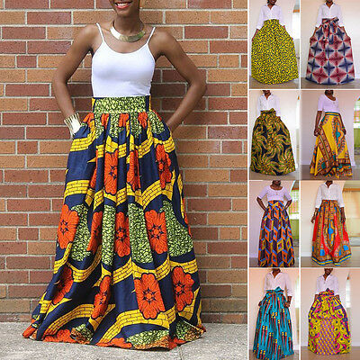 African Women's Print High Waist Party Boho Long Maxi Skirt Dress + Waist Belt