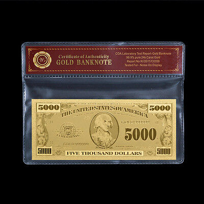 WR $5000 US Gold Banknote Dollar Bill Uncirculated Business Gift In Sleeve