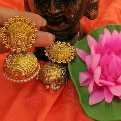 Women Gold Plated Indian Bollywood Wedding Party Fashion Bridal Jhumka Earring