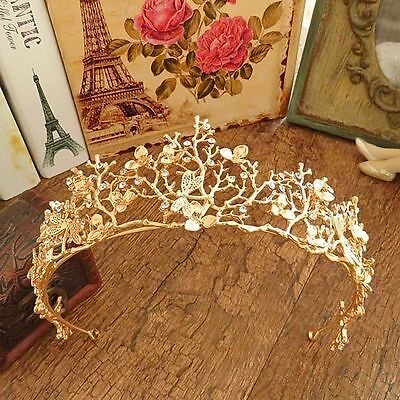 Gold Rhinestone Flower Bridal Crown Tiaras Wedding Diadem Women Hair Accessories