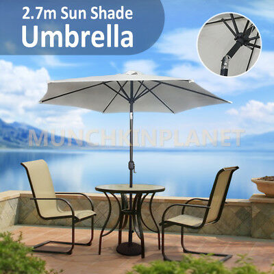 2.7m Patio Garden Outdoor Sun Shade Umbrella Adjustable Folding Umbrella New