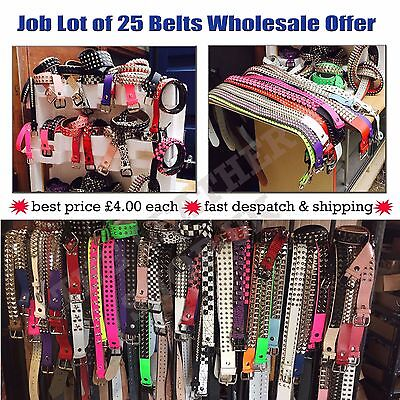 Wholesale/Job Lot Of 25 Assorted Uk Made Studded Leather Punk Belts Brand New