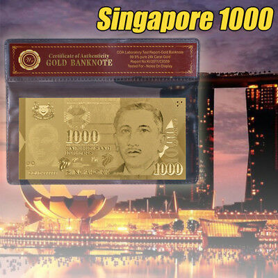 WR Gold Singapore $1000 Bill Collectible Banknote In Plastic Sleeve Mens Gifts