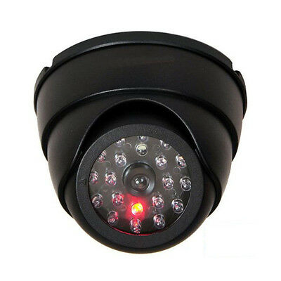 In/Outdoor Dummy Dome Fake Security Camera CCTV False W/ Flashing Red LED Light