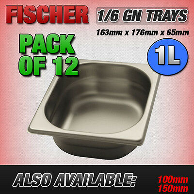 """""""BRAND NEW"""" 12 PACK OF 1/6 STAINLESS STEEL GASTRONORM TRAYS 163mm x 176mm x 65mm"""