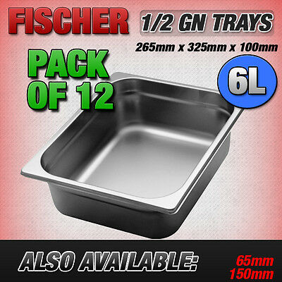 """""""BRAND NEW"""" 12 PACK 1/2 STAINLESS STEEL GASTRONORM TRAYS 265mm x 325mm x 100mm"""