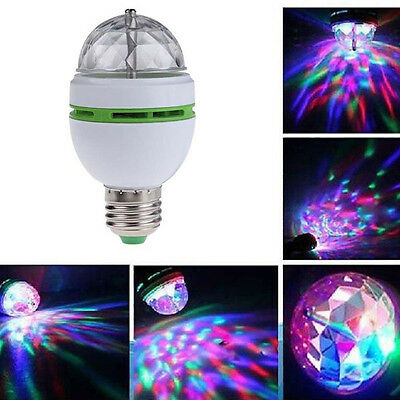 3W E27 B22 Led Full Color RGB Auto Rotating Lamp Crystal Stage Party Light Bulb