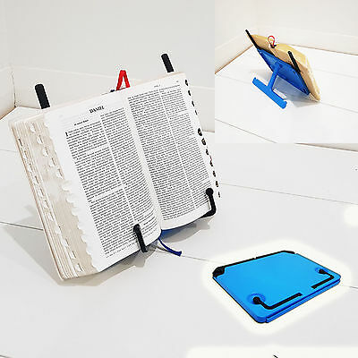 Blue Adjustable Portable Recipe Book Stand Holder / Reading Document Holder