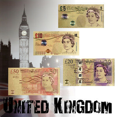 WR 4PCS Set British Color Gold Foil Bank Notes of UK £5-50 Pounds /w Certificate
