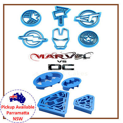10 Piece Dc Marvel Cookie Cutter Cake Batman Superman Iron Man Superhero Set