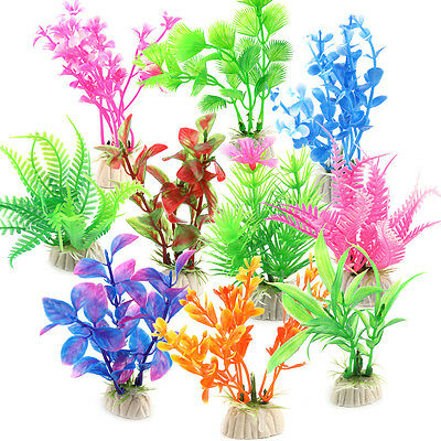 10X Mixed Artificial Aquarium Fish Tank Green Plant Plastic Grass Decoration UK