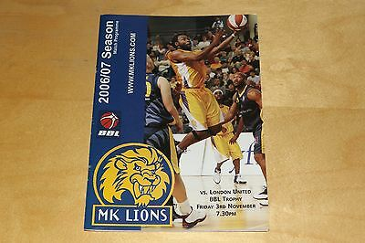 MK Lions Basketball Programme vs London United  (Milton Keynes) 3rd Nov 2006