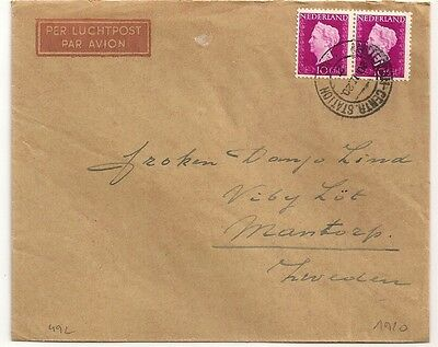 Cover Pays Bas Netherlands Amsterdam To Sweden. 1920. L492