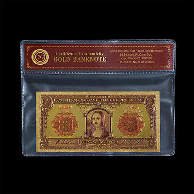 WR 1931 COSTA RICA 2 Colones Banknote Mona Lisa Color Gold Paper Money In Sleeve