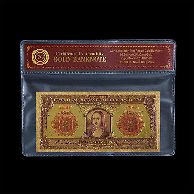 WR 1931 COSTA RICA 2 Colones Bill Mona Lisa Gold Banknote In Sleeve
