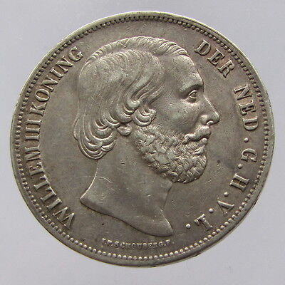 Netherlands, William III, silver 2.5 gulden,1854, gVF