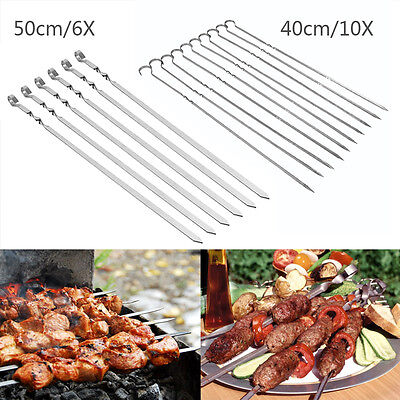 40/10x 50cm/6x BBQ Barbecue Stainless Steel Grilling Kabob Flat Skewers Sticks