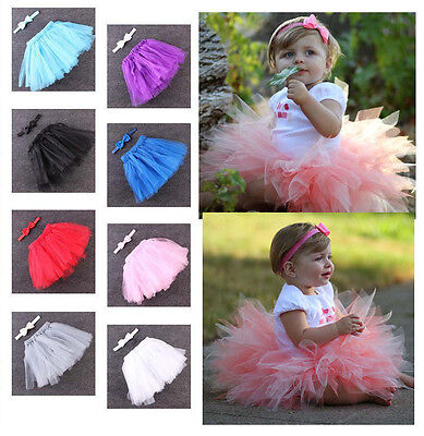 Baby Girl Newborn toddler Tutu Skirt And Bow Set Dress Party Birthday 3-12 mths