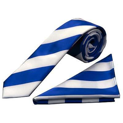 Handmade Blue and White Striped Skinny Men's Football Tie and Handkerchief Set