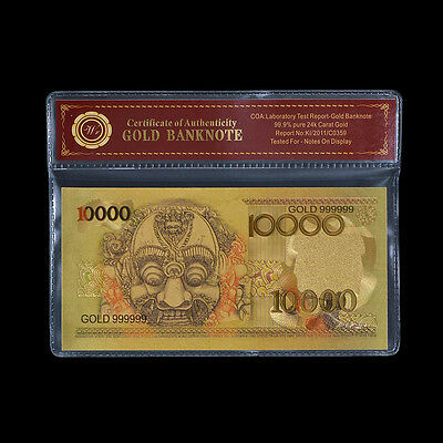 WR 1975 Indonesia Gold Foil Plated 10000 Rupiah Banknote Borobudur Bali Mask