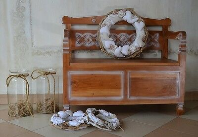 Bench Chest Box Trunk Seat Mahogany Wood Vintage Retro Patinated White Antique