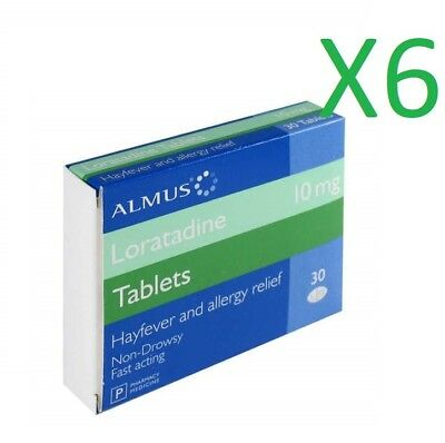 6 months supply Loratadine 10mg tablets, ( 6 x 30 per pack )