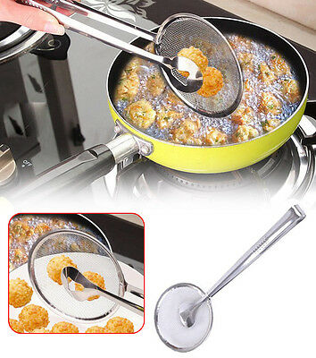 Stainless Steel Colander Spoon Cooked Food Strainer Meat Drainer Clip Kitchen