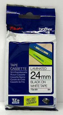 Brother P-Touch TZe-251 Black on White Tape Cassette 24mm Label Genuine original