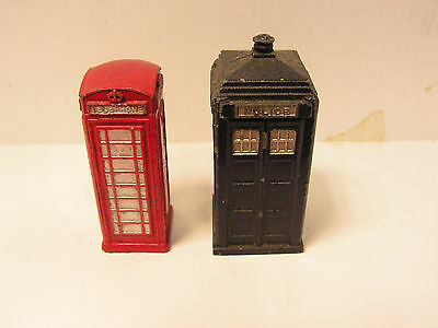 Dinky Toys 12C Red Telephone Box And 42A Police Telephone Box