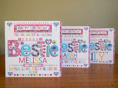 BESTIE Birthday Card Personalised Special For Best Friend Lovely