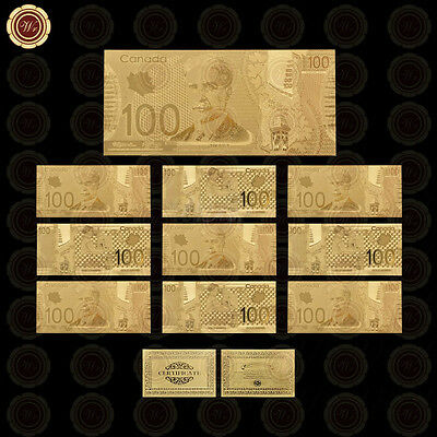 WR 10pcs Canada $100 Bill Set Gold One Hundred Dollars Banknote Lot Gifts