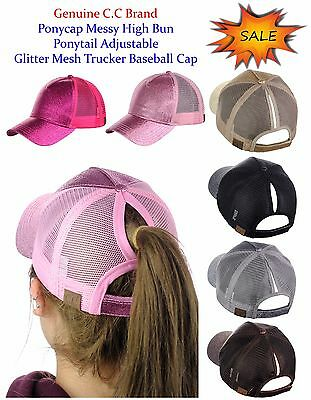 C.C Ponycap Messy High Bun Ponytail Adjustable Glitter Mesh Baseball CC Cap  Hat a2c4e97b61b9