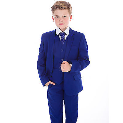 Boys Blue Suits, Boys Suits, Page Boy Prom Wedding Party Outfit 5 Piece