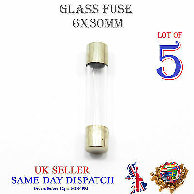 5x 6x30mm Glass Fuse Fast Blow Acting 250v