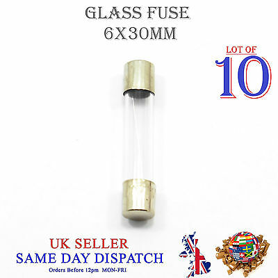 10x 6x30mm Glass Fuse Fast Blow Acting 250v