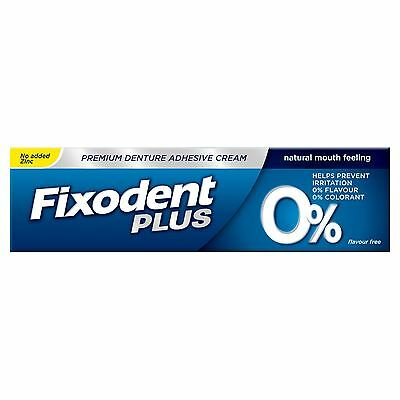 Fixodent Plus Zero Premium Denture Adhesive, Natural 0% Flavour & Colourant, 40g