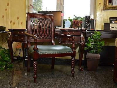 Throne Chair Armchair Antique Wood Grey Eco Leather Carved Openwork Back