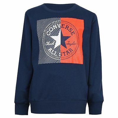 Designer CONVERSE 'All Star' Boys Navy Blue Sweat Top NEW SEASON'S NEW LOGO SALE