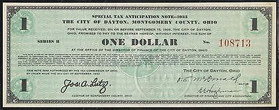 $1 1933 City Of Dayton, Ohio Special Tax Anticipation Note # 108713 Bt7866