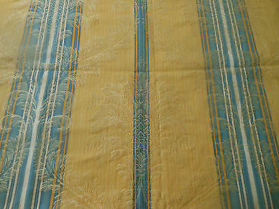 Vintage French Damask Fabric ~ Yellow Blue Scroll