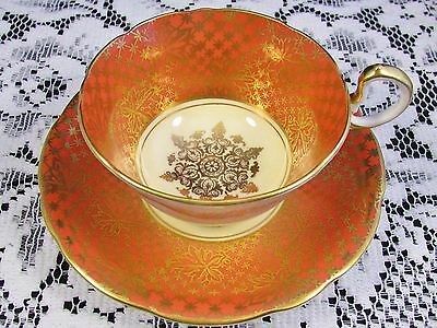 Aynsley Orange Decorative  Fancy Gold Gilt Leaf Tea Cup And Saucer