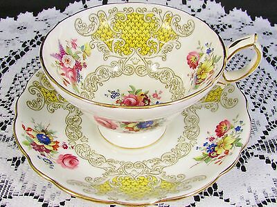 Hammersley Yellow Panels Howard Floral Sprays Tea Cup And Saucer